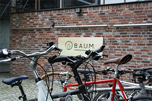 Bikes in front of a company building